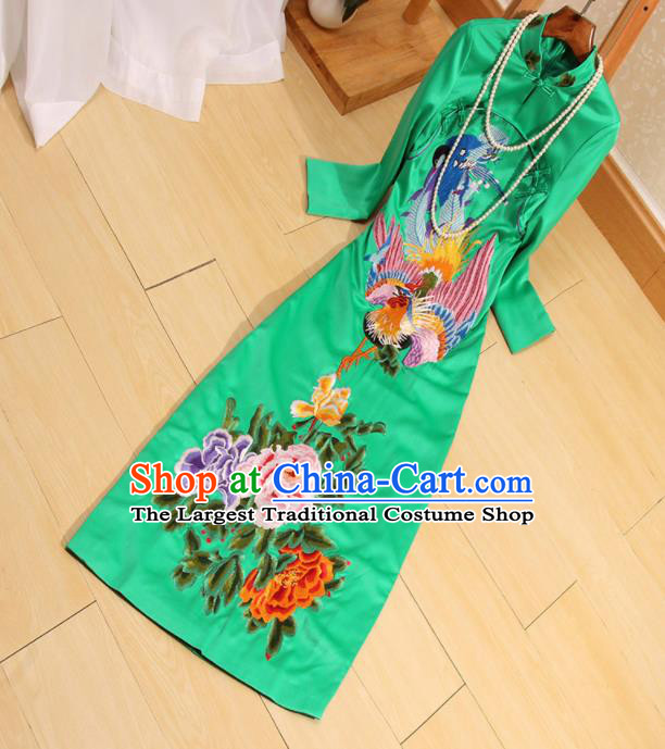Traditional Chinese National Embroidered Phoenix Peony Green Qipao Dress Tang Suit Cheongsam Costume for Women