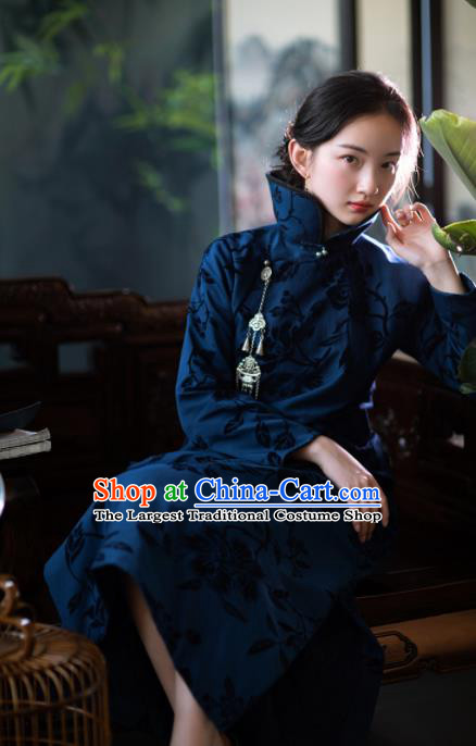 Traditional Chinese National Peacock Blue Qipao Dress Tang Suit Cotton Cheongsam Costume for Women