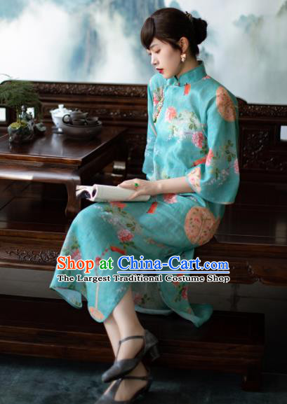 Traditional Chinese National Printing Peony Blue Flax Qipao Dress Tang Suit Cheongsam Costume for Women