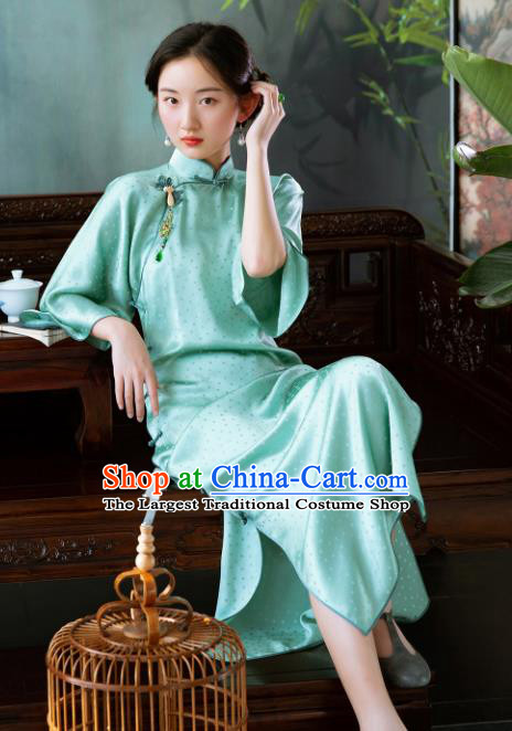 Traditional Chinese National Green Silk Qipao Dress Tang Suit Cheongsam Costume for Women