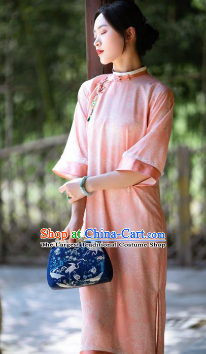 Traditional Chinese National Pink Silk Qipao Dress Tang Suit Cheongsam Costume for Women