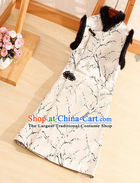Chinese Traditional Embroidered Plum Blossom White Vest National Dress Waistcoat for Women