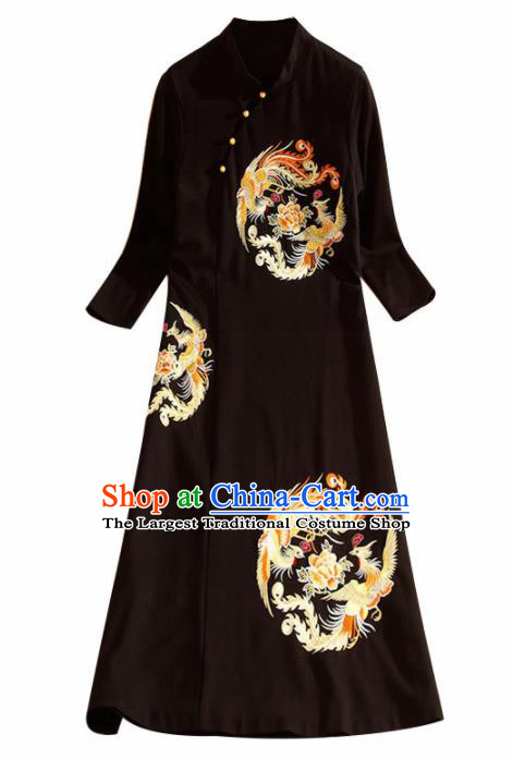 Traditional Chinese National Embroidered Phoenix Peony Black Qipao Dress Tang Suit Cheongsam Costume for Women