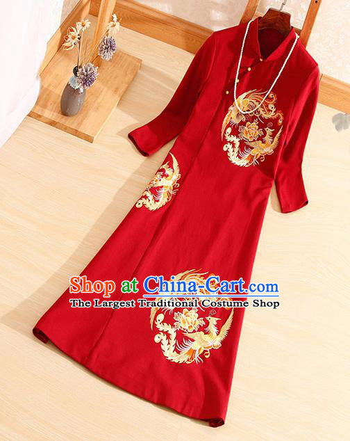 Traditional Chinese National Embroidered Phoenix Peony Red Qipao Dress Tang Suit Cheongsam Costume for Women