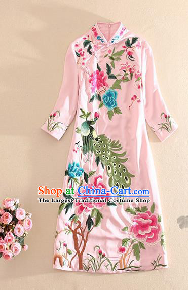 Traditional Chinese National Embroidered Peacock Peony Pink Qipao Dress Tang Suit Cheongsam Costume for Women