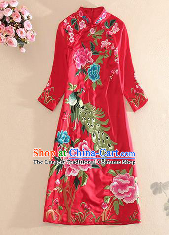 Traditional Chinese National Embroidered Peacock Peony Red Qipao Dress Tang Suit Cheongsam Costume for Women