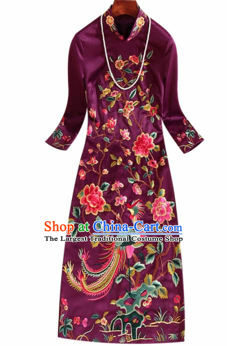 Traditional Chinese National Embroidered Phoenix Peony Purple Qipao Dress Tang Suit Cheongsam Costume for Women