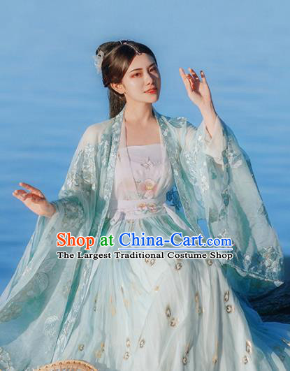 Traditional Chinese Tang Dynasty Nobility Lady Green Hanfu Dress Ancient Royal Princess Historical Costumes for Women