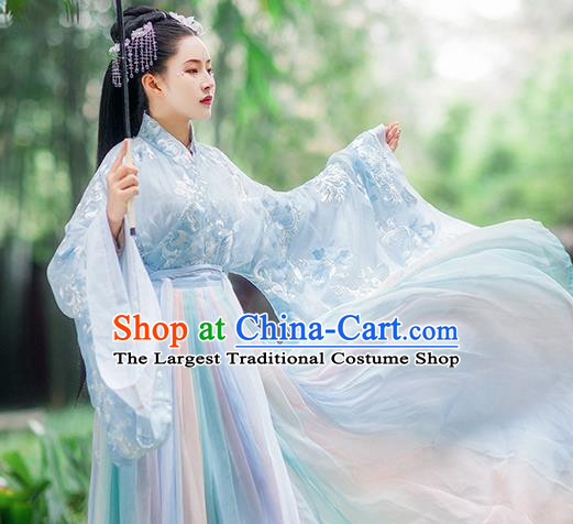 Traditional Chinese Jin Dynasty Imperial Consort Blue Hanfu Dress Ancient Royal Princess Historical Costumes for Women