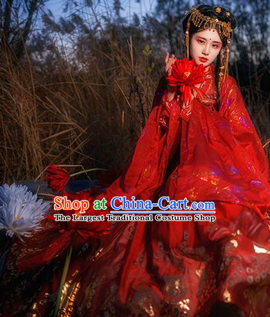 Traditional Chinese Tang Dynasty Court Infanta Red Hanfu Dress Ancient Royal Princess Wedding Historical Costumes for Women