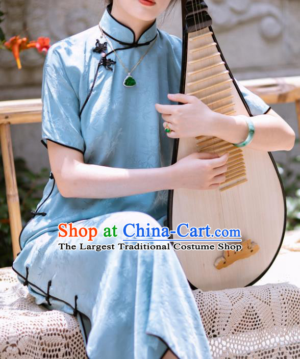 Traditional Chinese Late Qing Dynasty Blue Silk Qipao Dress National Tang Suit Cheongsam Costume for Women
