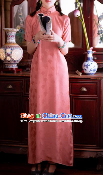 Traditional Chinese National Deep Pink Qipao Dress Tang Suit Cheongsam Costume for Women