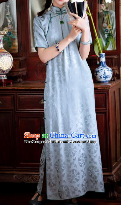 Traditional Chinese National Printing Light Blue Silk Qipao Dress Tang Suit Cheongsam Costume for Women