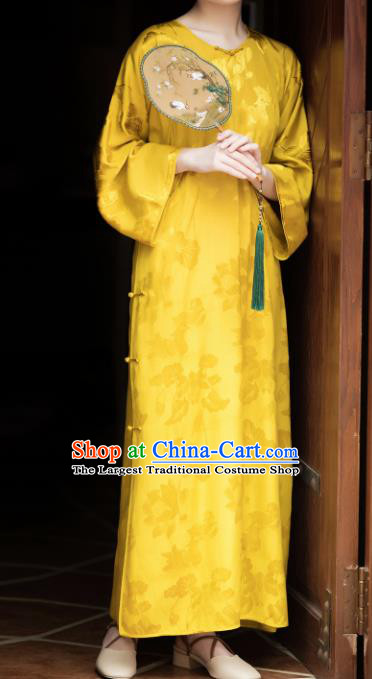 Traditional Chinese Yellow Brocade Qipao Dress National Tang Suit Cheongsam Costume for Women