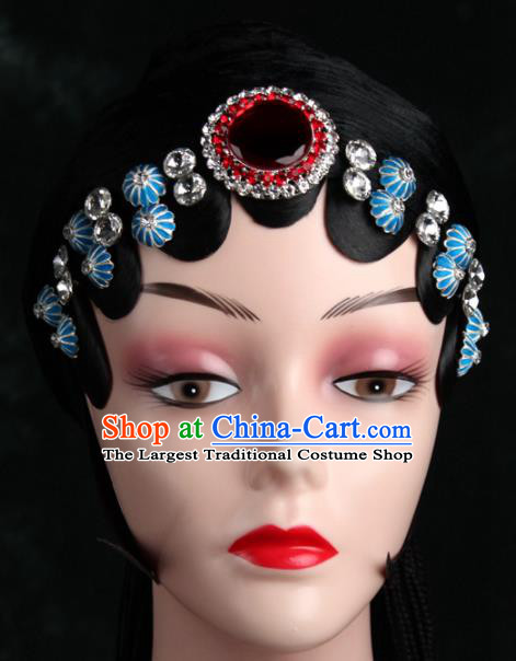 Chinese Traditional Beijing Opera Diva Hair Accessories Peking Opera Princess Blue Hairpins for Women