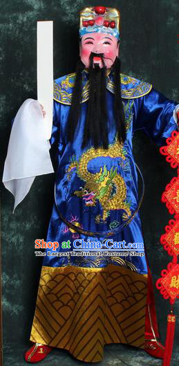 Chinese Traditional Beijing Opera Costume Ancient Wealth God Blue Robe for Men