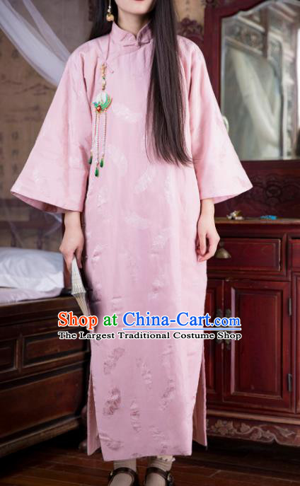 Traditional Chinese Pink Silk Qipao Dress National Tang Suit Cheongsam Costume for Women