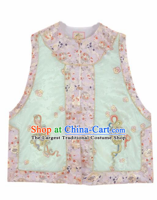 Chinese Traditional Qing Dynasty Embroidered Green Vest National Costume Tang Suit Waistcoat for Women