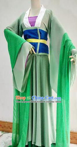 Chinese Traditional Cosplay Goddess Green Costume Ancient Court Maid Hanfu Dress for Women