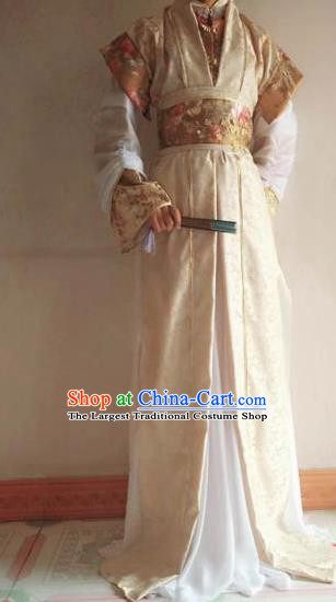 Chinese Traditional Cosplay Prince Light Golden Costume Ancient Swordsman Hanfu Clothing for Men