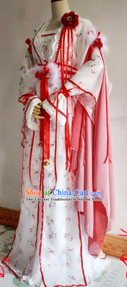 Chinese Traditional Cosplay Court Princess White Costume Ancient Imperial Empress Hanfu Dress for Women