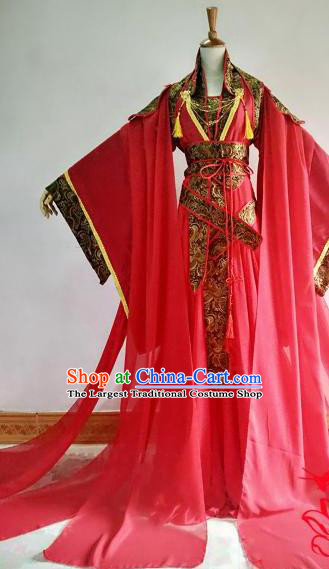 Chinese Traditional Cosplay Court Queen Red Costume Ancient Imperial Empress Hanfu Dress for Women
