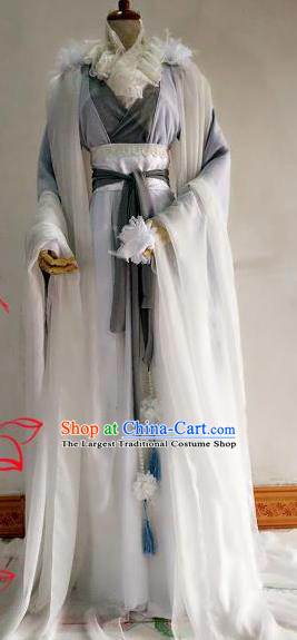 Chinese Traditional Cosplay Swordswoman Grey Costume Ancient Royal Princess Hanfu Dress for Women