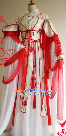 Chinese Traditional Cosplay Goddess White Costume Ancient Royal Princess Hanfu Dress for Women