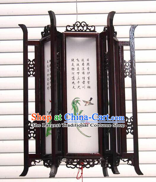 Chinese Traditional New Year Printing Orchid Wood White Palace Lantern Asian Handmade Lantern Ancient Lamp