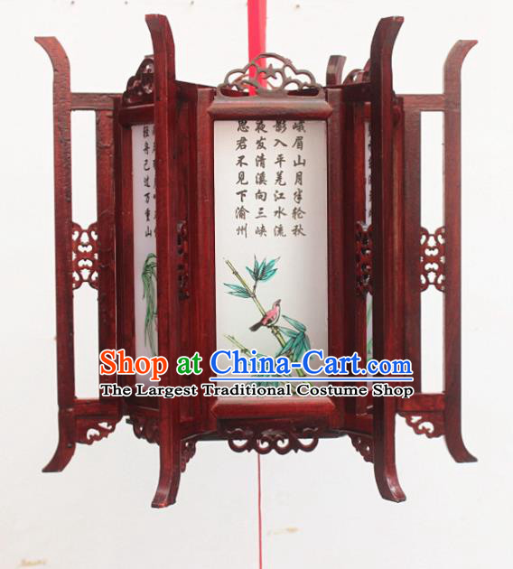 Chinese Traditional New Year Printing Bamboo Orchid Wood White Palace Lantern Asian Handmade Lantern Ancient Lamp