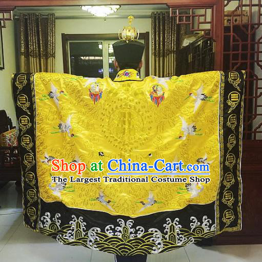 Chinese Traditional Taoism Costume Ancient Taoist Priest Cassocks Embroidered Crane Golden Vestment