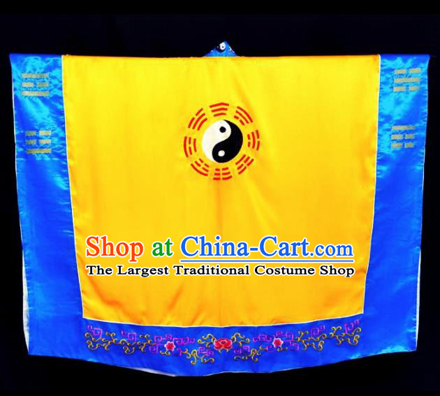 Chinese Traditional Taoism Costume Ancient Taoist Priest Cassocks Embroidered Tai Chi Yellow Vestment