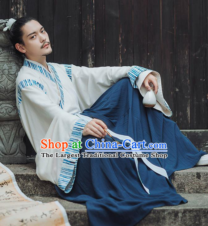 Traditional Chinese Jin Dynasty Nobility Childe Hanfu Clothing Ancient Swordsman Historical Costumes for Men