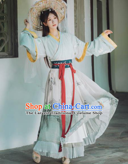 Traditional Chinese Jin Dynasty Royal Princess Hanfu Dress Ancient Goddess Water Historical Costumes for Women
