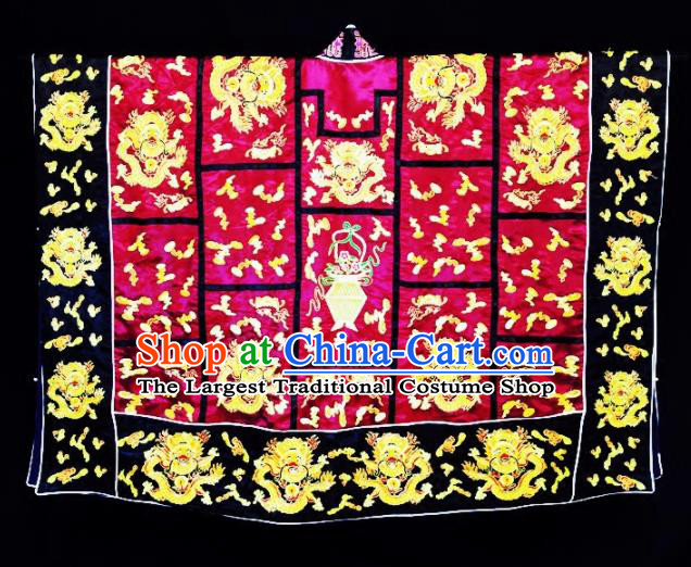Chinese Ancient Taoist Priest Embroidered Dragon Wine Red Cassocks Traditional Taoism Vestment Costume