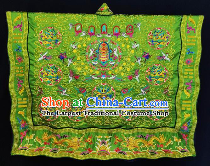 Chinese Ancient Taoist Priest Embroidered Dragons Crane Green Cassocks Traditional Taoism Vestment Costume