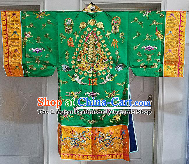 Chinese Ancient Taoist Priest Embroidered Cloud Cranes Green Cassocks Traditional Taoism Vestment Costume