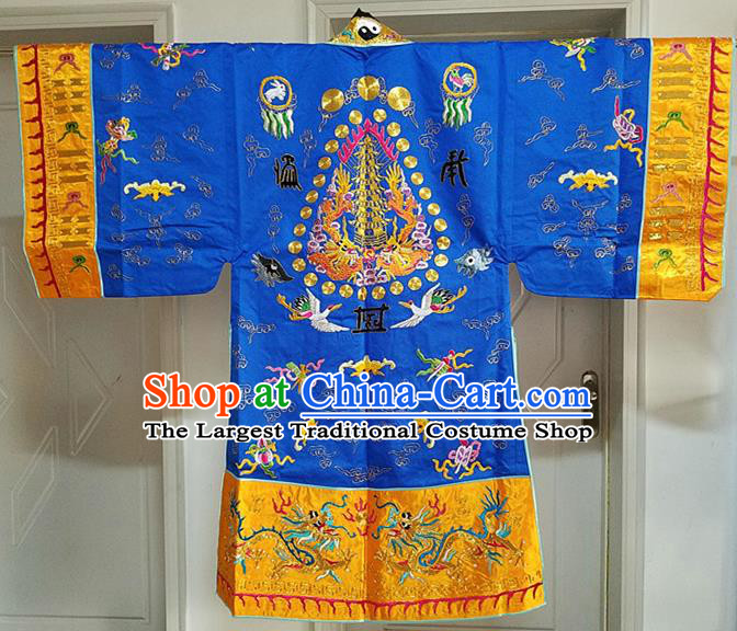 Chinese Ancient Taoist Priest Embroidered Cloud Cranes Royalblue Cassocks Traditional Taoism Vestment Costume