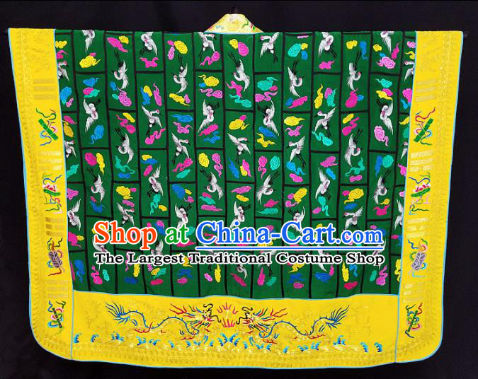 Chinese Ancient Taoist Priest Handmade Embroidered Cloud Cranes Green Cassocks Traditional Taoism Vestment Costume