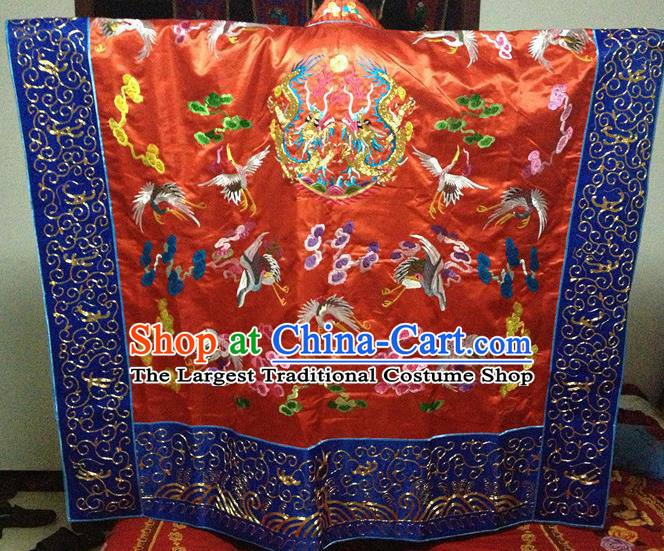 Chinese Ancient Taoist Priest Handmade Embroidered Cloud Cranes Red Cassocks Traditional Taoism Vestment Costume