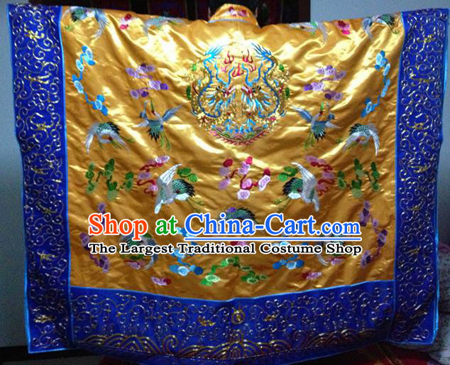 Chinese Ancient Taoist Priest Handmade Embroidered Cloud Cranes Golden Cassocks Traditional Taoism Vestment Costume