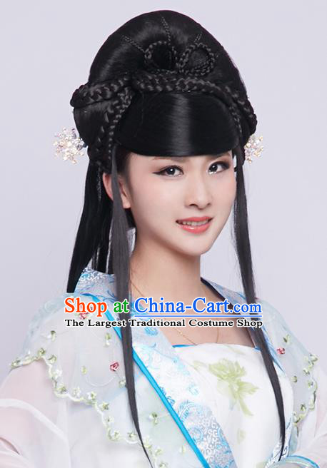 Chinese Ancient Princess Black Long Wigs Traditional Tang Dynasty Nobility Lady Wig Sheath Headwear for Women