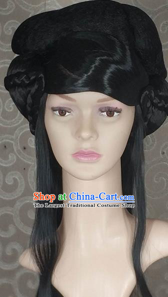 Chinese Ancient Princess Wigs Traditional Tang Dynasty Nobility Lady Black Long Wig Sheath Headwear for Women
