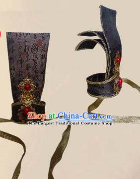 Chinese Ancient Minister Black Hairdo Crown Traditional Han Dynasty Nobility Childe Headwear for Men