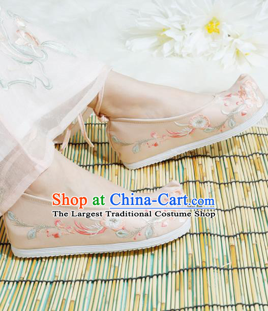 Chinese National Pink Embroidered Shoes Ancient Traditional Princess Shoes Hanfu Shoes for Women