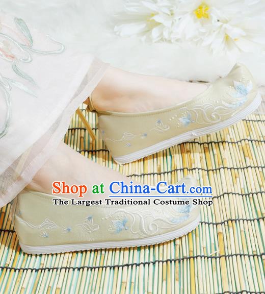 Chinese National Golden Embroidered Shoes Ancient Traditional Princess Shoes Hanfu Shoes for Women