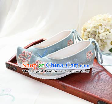 Chinese National Embroidered Peony Green Shoes Ancient Traditional Princess Shoes Hanfu Shoes for Women