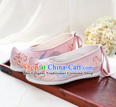 Chinese National Embroidered Peony Pink Shoes Ancient Traditional Princess Shoes Hanfu Shoes for Women
