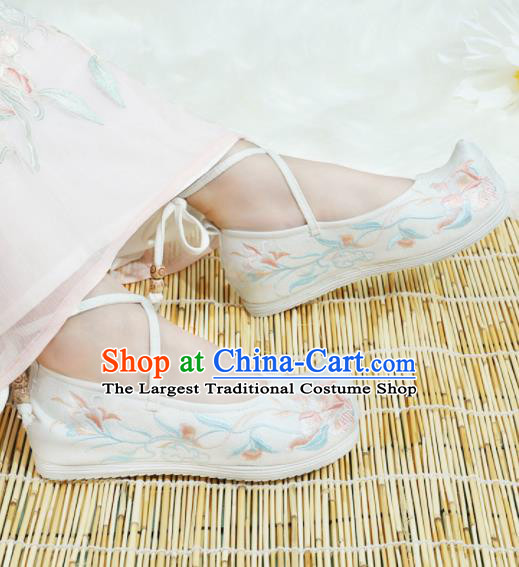 Chinese National White Cloth Hanfu Shoes Traditional Princess Shoes Embroidered Shoes for Women
