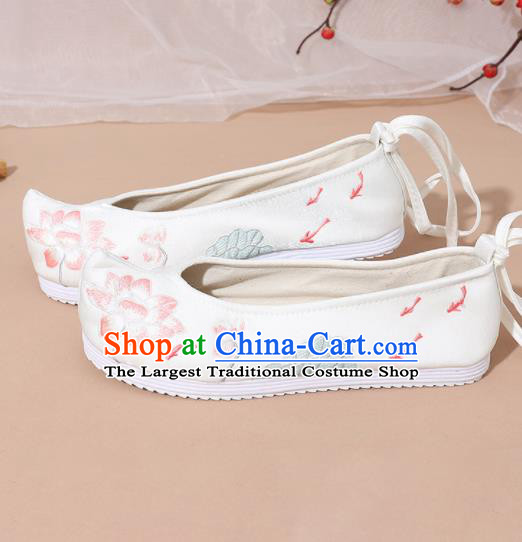 Chinese National White Embroidered Lotus Shoes Ancient Traditional Princess Shoes Hanfu Shoes for Women